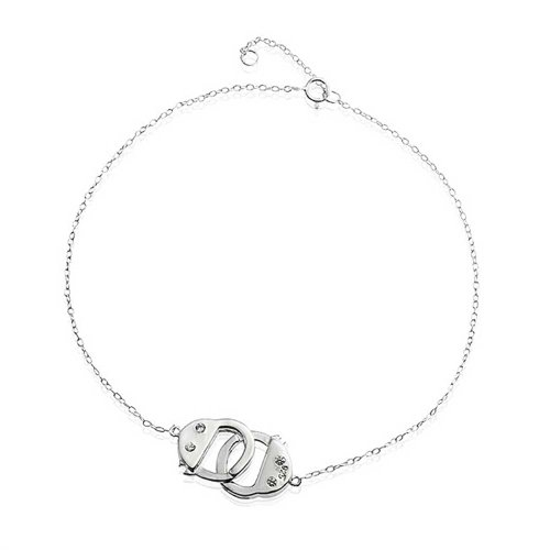 Handcuff Charm Anklet Station Style Secret Shades CZ Accent 925 Silver 9 Inches
