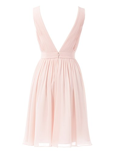Dress Pearl Women's Short Prom Gown Sleeveless Bridesmaid V Neck Party Pink Alicepub Cocktail PFHIqI