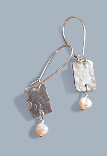 (Handmade Lightweight Womens Dangle Rectangle Earrings with White Pearls Beads by)
