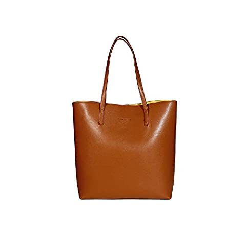 ANNA TOSANI Genuine Leather Handbag for Women Large Totes Shoulder Bags (Coffee)