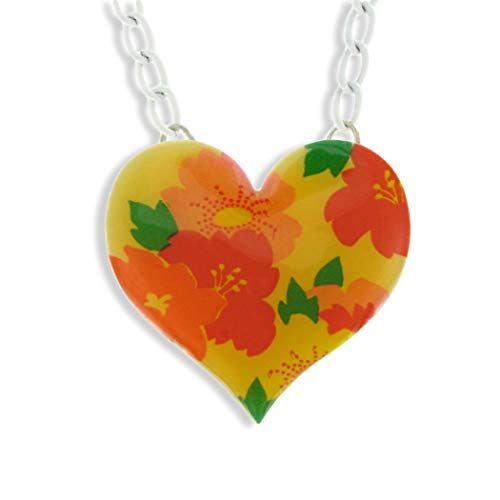 Heart Multicolor Floral Choker Pendant Necklace 1960s Vintage 15