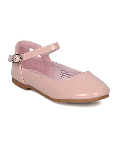 Cut Out Ballet Flat (Little Angel GB41 Girls Patent Leatherette Ankle Strap Cut Out Ballet Flat (Toddler Girl/Little Girl/Big Girl) - Blush Patent (Size: Big Kid 3))