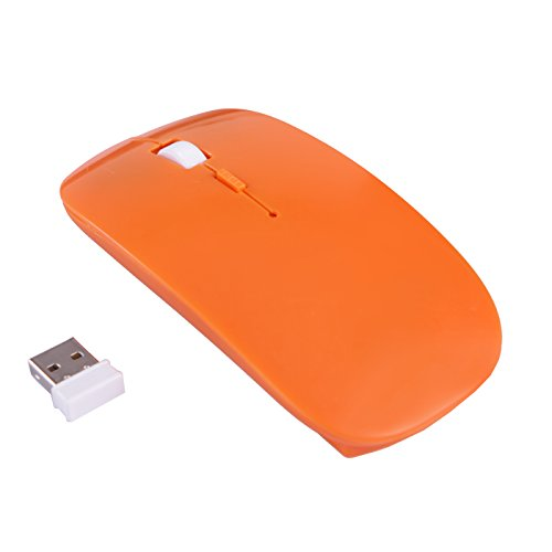 Price comparison product image HDE Ultra-Thin Wireless Mouse 2.4GHZ Ergonomic Candy Colored Optical Mouse with USB Nano Receiver and Adjustable DPI Switch (Orange)