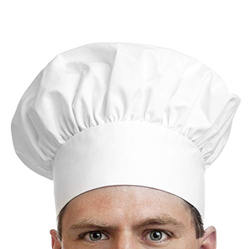 HORSKY Chef Hat, Adult Adjustable Elastic Kitchen Baker Cooking Cap 9 inch High White