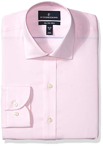 BUTTONED DOWN Men's Slim Fit Spread Collar Solid Non-Iron Dress Shirt, Light Pink/no Pockets, 15.5