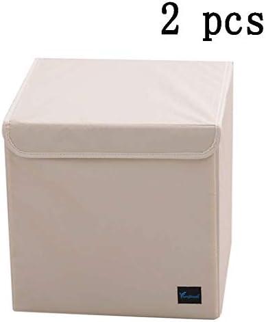 LHY SAVE 2 Pack Cajas De Almacenaje De Tela, Plegables Cubos De Almacenaje con Tapa, Lavable Cubos Organizadores para Guardar Ropa, Juguetes,Casa, Oficina,33 * 33 * 33Cm,Beige: Amazon.es: Hogar