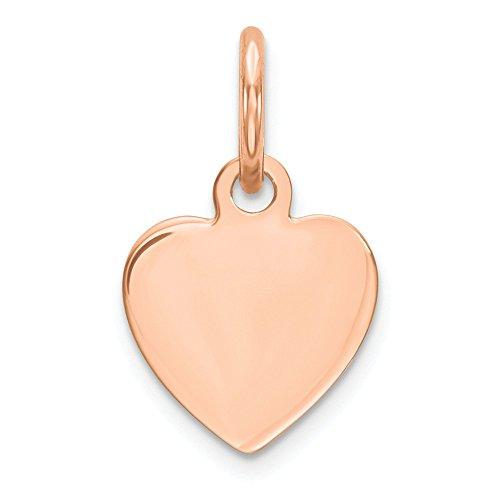 - 14k Rose Gold .018 Gauge Engraveable Heart Disc Pendant Charm Necklace Engravable Simple Shaped Plain Love Fine Jewelry Gifts For Women For Her