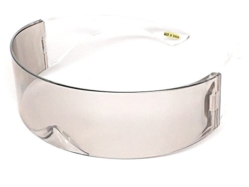 WebDeals - Futuristic Wrap Around Monoblock Cyclops Shield Sunglasses… (Solid Clear/Smoke) ()