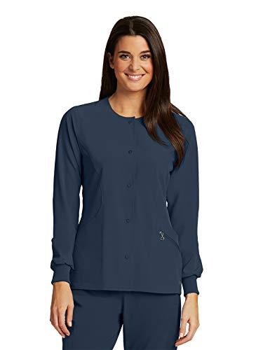 Barco One 5409 Women's 4 Pocket Perforated Princess Warm-Up Jacket Steel - Warm Jacket Up Jewel Neck
