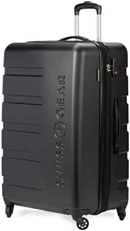 SWISSGEAR 7366 Hardside Expandable Luggage with Spinner Wheels Medium Checked, Black