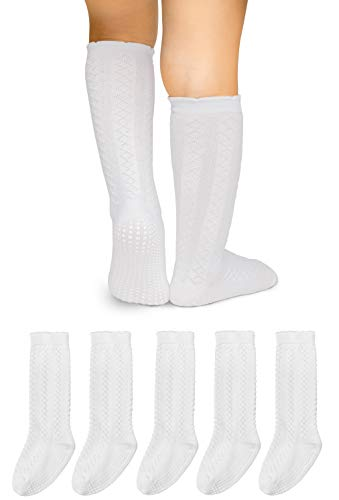LA Active Baby Toddler Knee High Grip Socks - 5 Pairs - Non Slip/Skid Cable Knit (White, 6-12 Months) (Grip Socks Knee High)