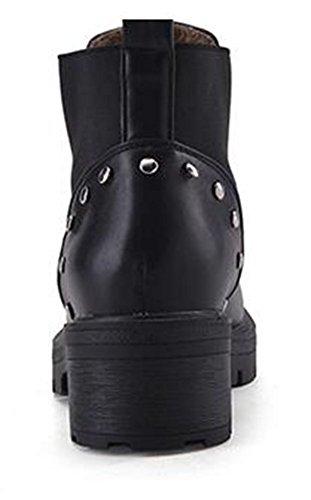 Chfso Femmes Mode Rivet Solide Bout Rond Zipper Mi Chunky Talon Plate-forme Cheville Bottes Noir