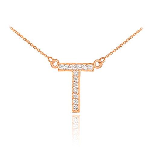 """14 ct 585/1000 Or Rose Initiale """"T"""" Diamant Initiale Collier"""