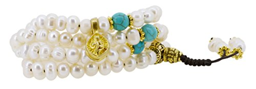 Turquoise Conch Shell (Freshwater Cultured Pearls Yoga Meditation 108 Prayer Beads Mala Wrap Bracelet or Necklace with Brass Guru Bead (Conch Shell))