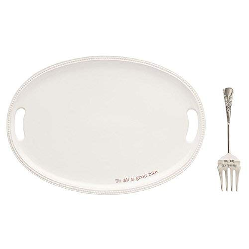 Mud Pie 40700009 To All a Good Bite Serving Platter Set, One Size, White