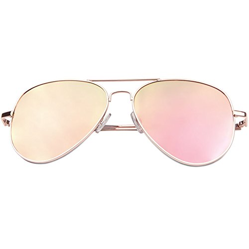 SUNGLASSES LUXE - Designer Women Fashion Aviator Rose Gold Pink Flat Mirrored Reflective - Sunglasses Gold Rose Reflective