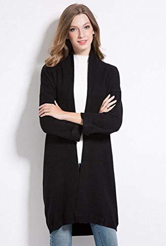 Femmes Maxi Pour Manches À Taille Ouvert En Sur Dessus coloré Le Hommes Oudan Cardigans Longues Noir Oversize Unique Tricot Noir SwvpcxFgzq