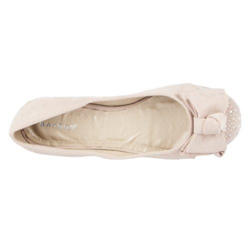 Bamboo Womens Amazing Rhinestone-embellished Microsuede Ballet Flats Nude uFg1gJ