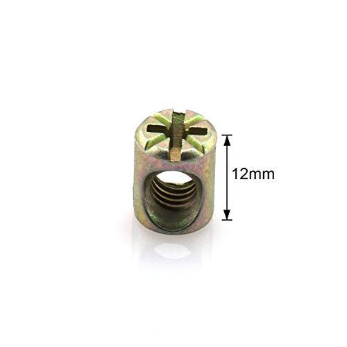 HJ Garden 33pcs M6x50mm Inner Hex Socket Head Furniture Bolt Zinc Plated Round Cap Screws Bolt with Barrel Nuts Kit Fastener Hardware for Furniture Cots Beds Crib