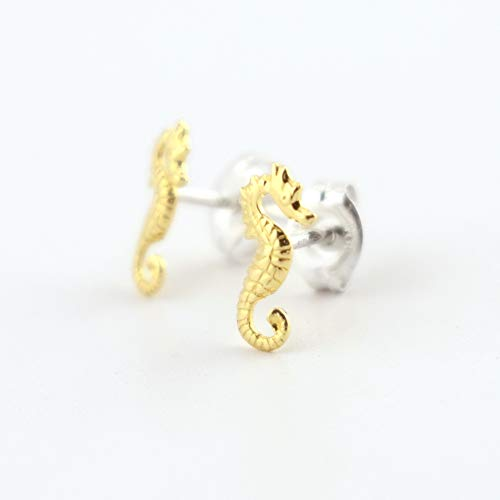 Seahorse Brass Stud Earrings - Brass Seahorse with Sterling Silver Post ()