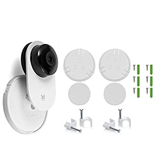 2 Pack Yi Home Camera Wall Mount Stand Bracket for Yi Home Security Camera 360 Degree Swivel, Full Install kit with Wire Clips (2 Pack)