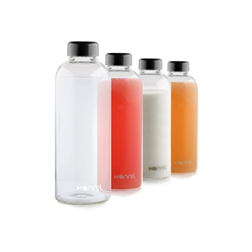 Glass Juice Bottles 32 oz with lids (Set of 4) BPA Free Juicing Container for Cold Orange, Apple, Kombucha, Grapefruit, Tea, Fresh Oraganic Vegetable, Juicer Fruit, Coconut, Kefir & Essential Oils