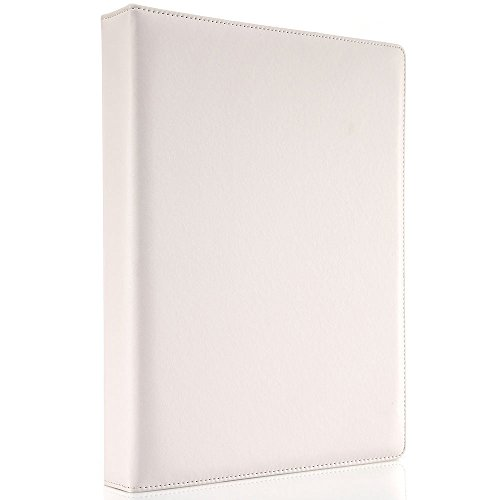 (KINGFOM A4 Faux Leather Padfolio Ring Binder Business File Folder Document Holder with Card Holder (3 Ring Binder White))