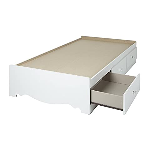Crystal Collection Twin Storage Bed Pure White - Bed 5 Drawers