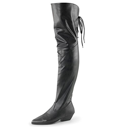 Womens Lace Up Thigh High Boots Black Over the Knee Pull Ons 1 1/2 Inch Heel Size: 9 (High Rodeo Boot Thigh)