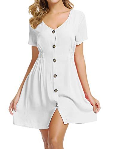 Loose Dresses for Women Folklorico Resort Dresses Flare Dresses White XXL