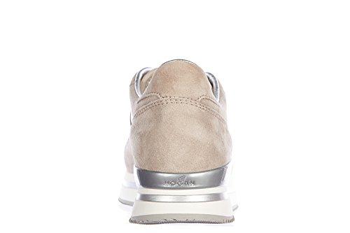 Zapatos De Mujer Hogan Zapatillas Deportivas De Ante Con Suela H 222 Beige