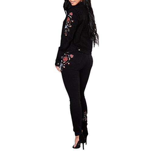 Jeans Con Nero Elasticizzati Donna Buco Ricamati color Size Black Black Isbxn L Da d1cqWt1