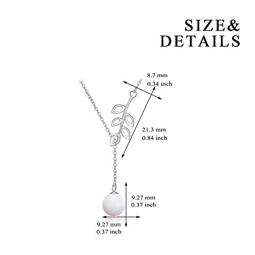 097ba21db3bf87 Y Lariat Created Opal Necklace Sterling Silver Olive Leaf Drop Pendant  Necklace for Women Lady