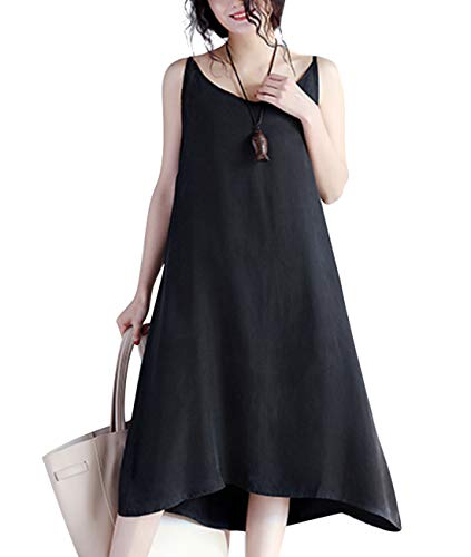 YESNO JEL Women Casual Loose Slip T-Shirt Dresses Beach Cover up Plain Dress A Skirt Hemline (2XL, JEL Black)
