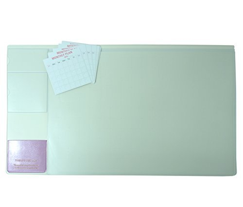 There`s Desk Mat & Mate 21'' X ''13 Desk Pad with 12 Monthly Calendar Cards (Simple Ivory) by Korea OEM