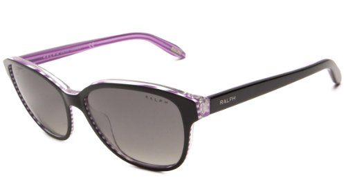Ralph by Ralph Lauren Womens 0RA5128 960/11 Square Sunglasses,Black & Purple Frame/Grey Gradient Lens,One - Lauren Sun
