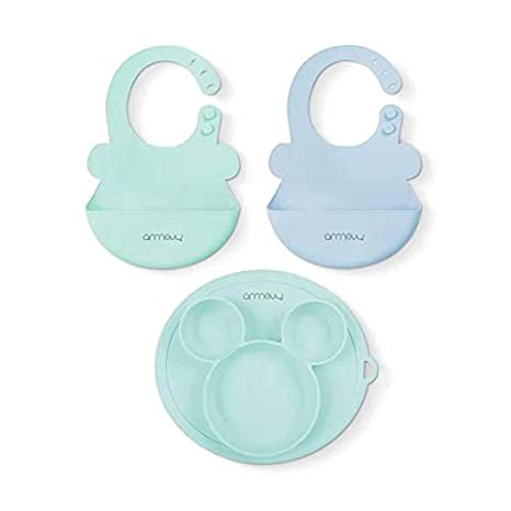 ARRNEW Set of 3 Super Light Silicone Baby Bibs and Suction Bowl| BPA Free Bowl Great Baby Boy Gifts Blue/&Mint BPA Free Bib for Baby Boy