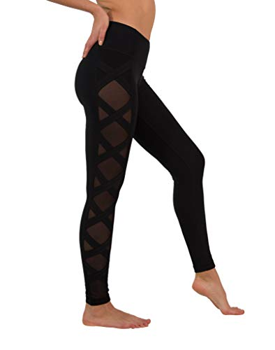 90 Degree By Reflex Women's High Fashion Criss Cross Workout Leggings with Sheer Mesh Panels (90 Degree By Reflex Yoga Pants Review)