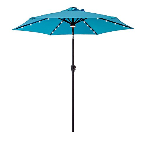 FLAME&SHADE 7.5' Solar Power Outdoor Patio Umbrella Market Style with LED Lights and Tilt for Balcony Deck or Pool Shade, Aqua Blue ()