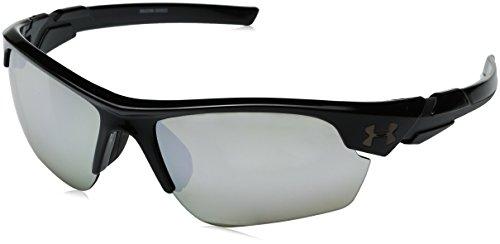 Under Armour Boys' Ua Windup Shiny Black/Charcoal Frame/Game Day/Chrome Multflection Lens Wrap Sunglasses, 58 mm
