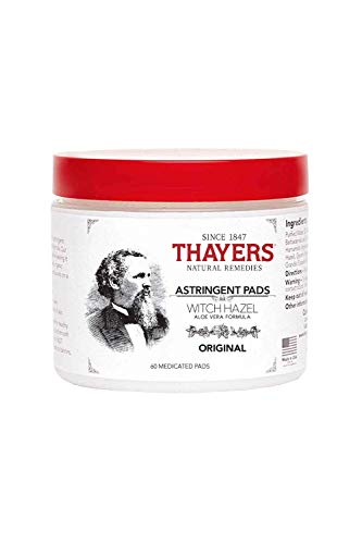 Thayers Original Witch Hazel Astringent Pads with Aloe Vera Formula, 60 Count