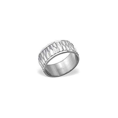 Worldjewelry Patterned Titanium Rings Titanium for Women and Girls
