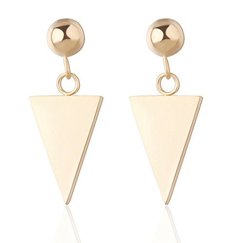 Carfeny Jewelry Stainless Steel Triangle Gold/Rose Gold Dangle Earrings for Women (Gold Designer Earrings)