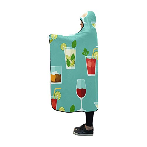 XINGCHENSS Hooded Blanket Cocktail Color Design Creative Romance Blanket 60x50 Inch Comfotable Hooded Throw Wrap