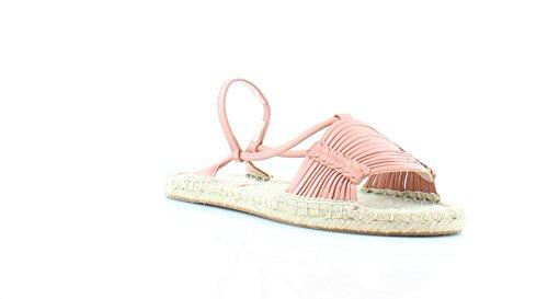 Avec Les Filles Womens Genevie Open Toe Slingback Espadrille Flat Shoes Coral Shiny Calf Size 7.0 M US