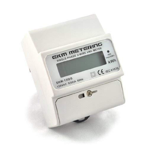 EKM Metering 120 Volt Pass-Through kWh Meter, 2-Wire (1 hot, 1 neutral), 50A, 60Hz, EKM-15IDS