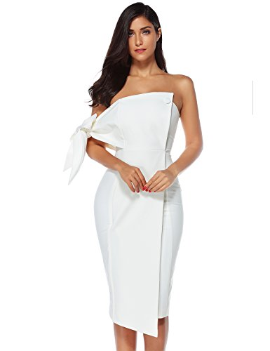 Meilun Womens One Shoulder Party Dress Club Dress (White, L)
