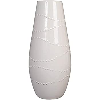 Hosley 12 Inch High White Textured Ceramic Vase Ideal Gift for Weddings Party Home Spa Settings Reiki O3