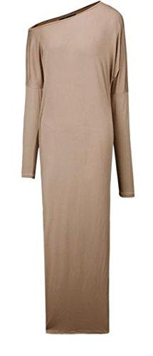 Womens Shoulder Cold Party Cruiize Scoop Loose Neck Maxi Khaki Slit Dresses CBdqxT4w