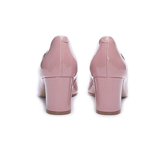 Damen Formale MHSXN Lederschuhe High Runde Freizeit Kopf Arbeitsplatz Lederschuhe Frauen Heels Schuhe ZqOdOa